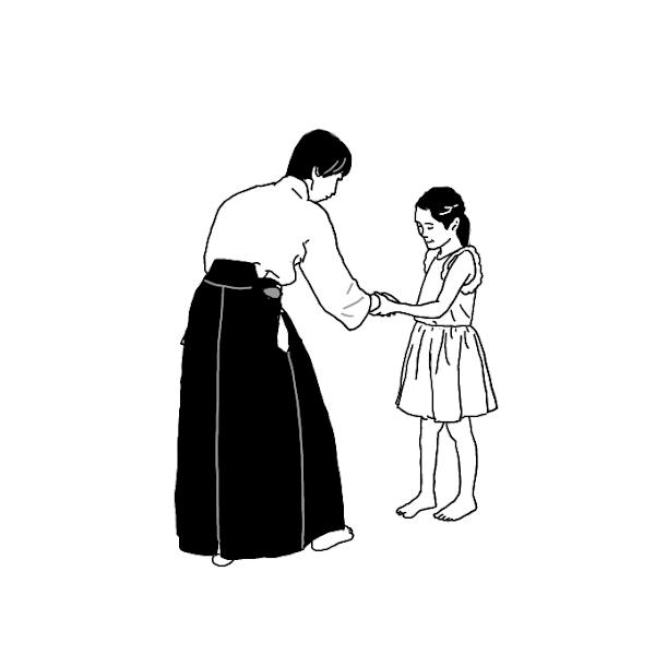 合気道 イラスト素材 女性と子供