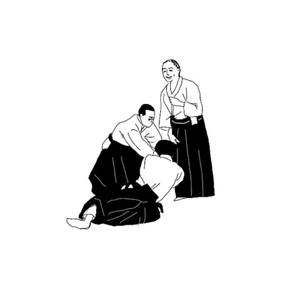合気道イラスト素材 男性の稽古